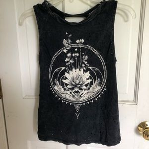 Black grunge open back tank top